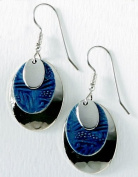Silver Forest Oval Blues Earrings One Size