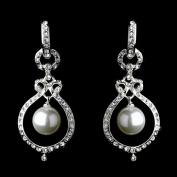 Bridal Wedding Jewellery Austrian Crystal Pearl Dangle Drop Earrings Silver White