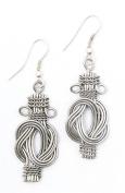 Brass Buddha Knot Earrings Silver Tone