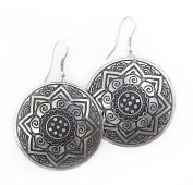 Brass Sun Medallion Earrings Silver Tone