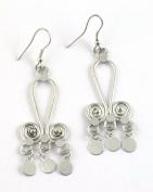 Brass Swirl Earrings Silver Tone