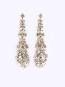 Fashion Jewellery ~ Clear Crystals Silvertone Earrings Set