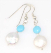 Turquoise & Pearl Earring