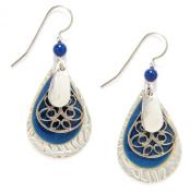 Silver Forest Blue & Silver Tone Teardrop Earrings