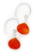 Stunning Gemstone Drop on Open Circle Hook Earrings, Carnelian