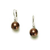 Sterling Silver 8mm Chocolate Shell Pearl and Cubic Zirconia Lever Back Earrings