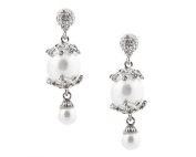 Dangling Vine White Pearl Earrings with Crystals and Silver Trim - White Bridal Jewellery