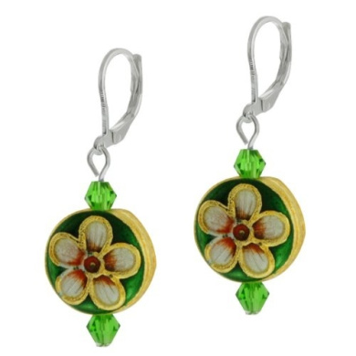 3.8cm Button Shape Crystal and Cloisonne Bead Lever Back Flower Earrings
