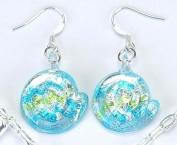 Spiral Shell Aquamarine Precious Gemstone Earrings Jewellery Gem Dangle