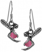 Pink Fairy Cats Eye Earrings Sterling Silver Handcrafted By Jewellery Nexus