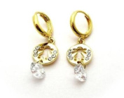 Girl Design Gold Tone Dangle Earrings with Crystals