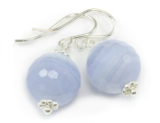 Sterling Silver Blue Lace Agate Earrings Faceted Round Drop Dangles