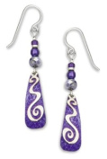 Adajio By Sienna Sky Purple Silver Squiggle Overlay Earrings 7229
