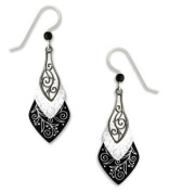 Adajio By Sienna Sky Lake Black Grey 3-part Necktie Silver Overlay Earrings 7374
