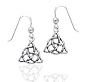 Small Celtic Triquetra Knot or Holy Trinity Symbol Dangle Sterling Silver Hook Earrings