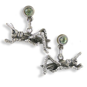 Pewter Grasshopper Post Earrings with. Crystals