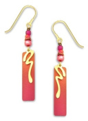 Adajio By Sienna Sky Pink Orange Gold Overlay Column Earrings 7076