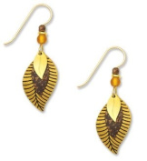 Gold Dark Brown Gold Plate Leaf 3-part Earrings , Handmade in USA by Adajio Sienna Sky 7299