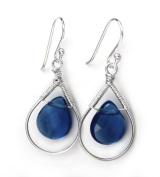Sterling Silver Wire-wrapped Crystal Teardrop Earrings, Midnight Blue