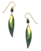 Adajio By Sienna Sky 3 Part Slender Leave, Green & Gold Plate Drop Dangle Earrings 7113