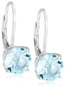 Sterling Silver 8mm Round Blue Topaz Lever Back Earrings