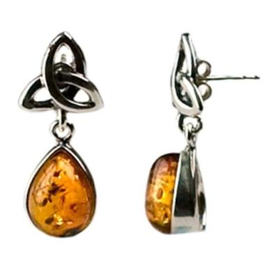 Certifed Genuine Honey Amber and Sterling Silver Celtic Earrings