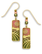 Adajio by Sienna Sky Sunset Coral Olive Column with Gold Overlay Earrings 7499