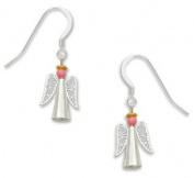 Angel Earrings with Pink Bead and Silver FiligreePastel Snowflakes Earrings with Rhinestones, Handmade in the USA by Sienna Sky 1607