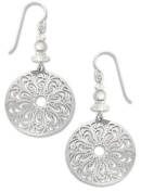 Adajio By Sienna Sky Silver Large Filigree Oval Earrings 7391