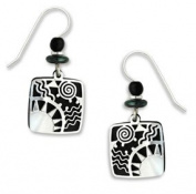 Adajio By Sienna Sky Black Square with Silver Sunrise Overlay Filigree Earrings 7303
