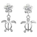 925 Silver Turtle & Plumeria Dangle Earrings Hawaiian Silver Jewellery