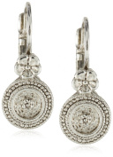 Antiquities Couture Silver-Tone Floral Disc Drop Earrings