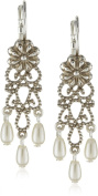 Antiquities Couture Silver-Tone Simulated Pearl Floral Drop Earrings