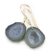 14k Gold Baby Drusy Geode Earrings Natural Form Druzy Grey Drops 7