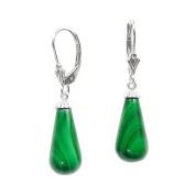925 Sterling Silver Natural Green Malachite Teardrop Leverback Earrings 16mm Teardrop