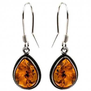 Sterling Silver Amber Classic Teardrop Earrings