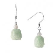 Natural Grade A Jadeite Jade Hanging Rose Sterling Silver Drop Earrings