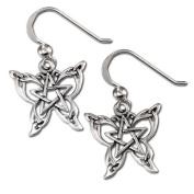 Sterling Silver Butterfly Pentacle Pentagram Earrings by Dryad Design