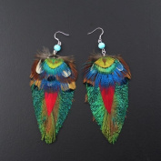 Crystalmood Bohemian Style Reversible Colourful Feather Earrings with Sterling Silver Earwire