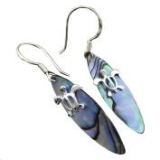 925 Silver Abalone Paua Surfboard Turtle Dangle Earrings Hawaiian Silver Jewellery