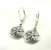 Small Sand Dollar Sterling Silver Charm Leverback Earrings Ocean Beach Theme Jewellery