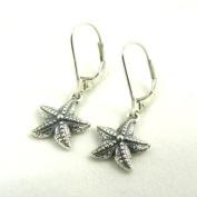 Small Starfish Sterling Silver Charm Leverback Earrings Sea Star Ocean Beach Theme Jewellery