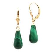 14-20 Gold Filled Natural Green Malachite Teardrop Leverback Earrings 16mm Teardrop