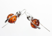 Sterling Silver and Cognac Amber Earrings