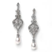 Bridal Earrings, Silver Vintage Chandelier Earrings with Pearl Drop 685