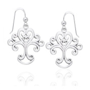 Heart of Mother Nature - Artistic Tree of Life Symbol Sterling Silver Hook Earrings