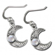 Sterling Silver Horned Moon Crescent Earrings with Rainbow Moonstone by Dryad Design