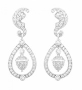 JanKuo Jewellery Silver Tone Royal Family Kate Middleton Inspired Wedding Dangling Earrings Silver Tone with CZ Cubic Zirconia with Gift Box