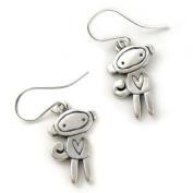 Love Monkey Sterling Silver Charm Earrings