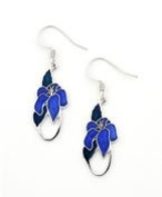 Vitreous hand enamelled floral art nouveau french wire earrings